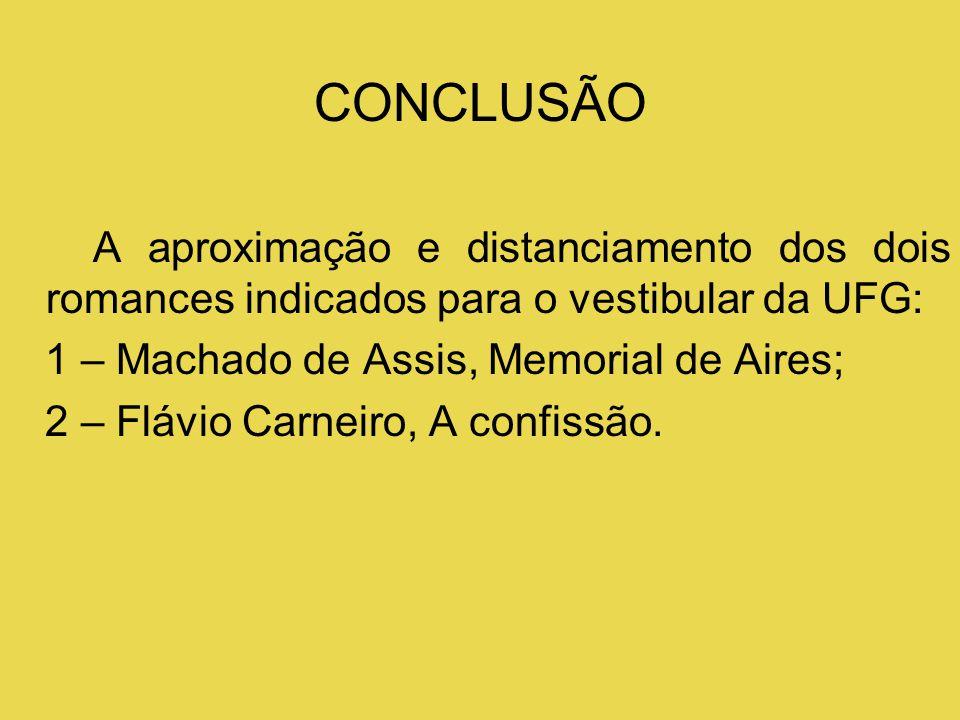 CONCLUSÃO A aproximação e distanciamento dos dois romances indicados para o vestibular da UFG: 1 – Machado de Assis, Memorial de Aires;