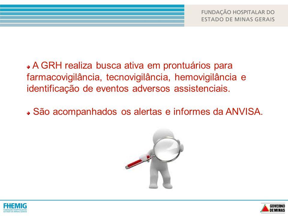 A GRH realiza busca ativa em prontuários para farmacovigilância, tecnovigilância, hemovigilância e identificação de eventos adversos assistenciais.