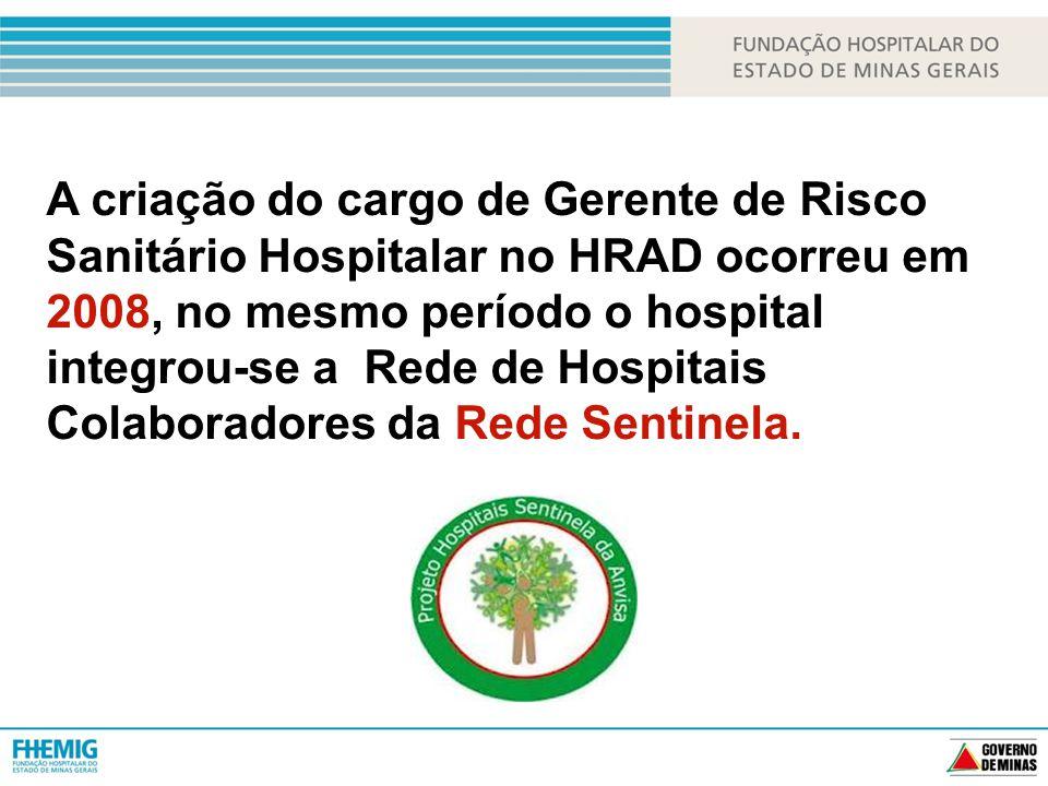 A criação do cargo de Gerente de Risco Sanitário Hospitalar no HRAD ocorreu em 2008, no mesmo período o hospital integrou-se a Rede de Hospitais Colaboradores da Rede Sentinela.