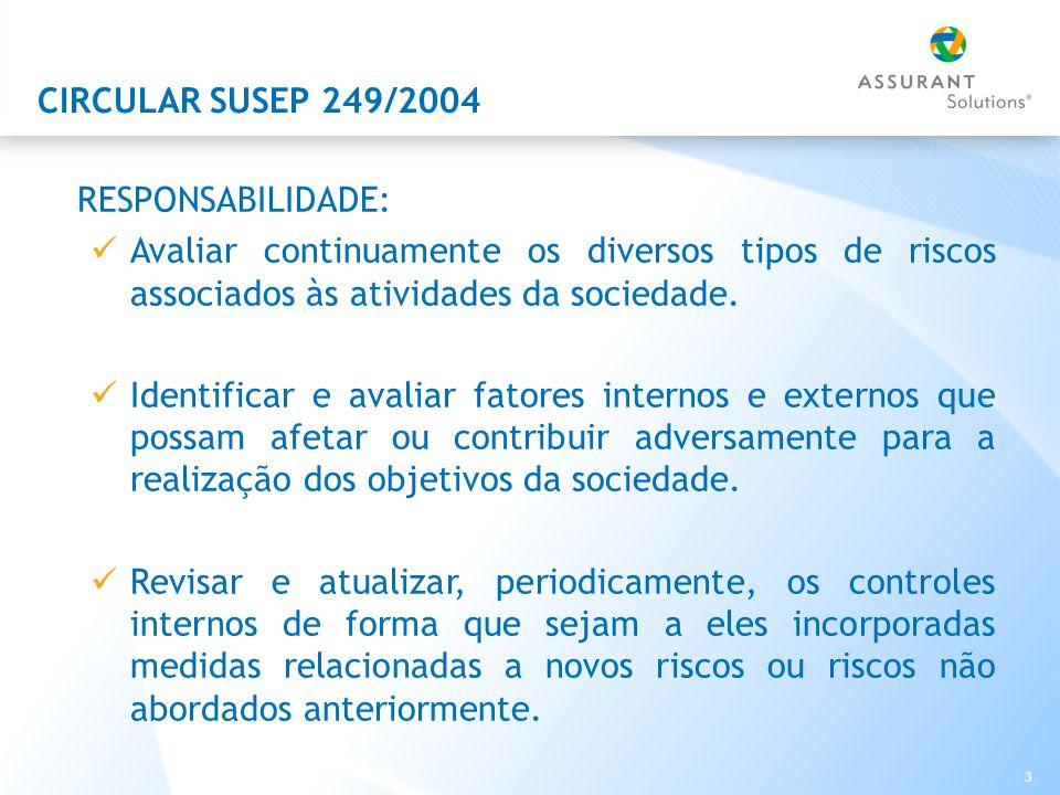 CIRCULAR SUSEP 249/2004 RESPONSABILIDADE: