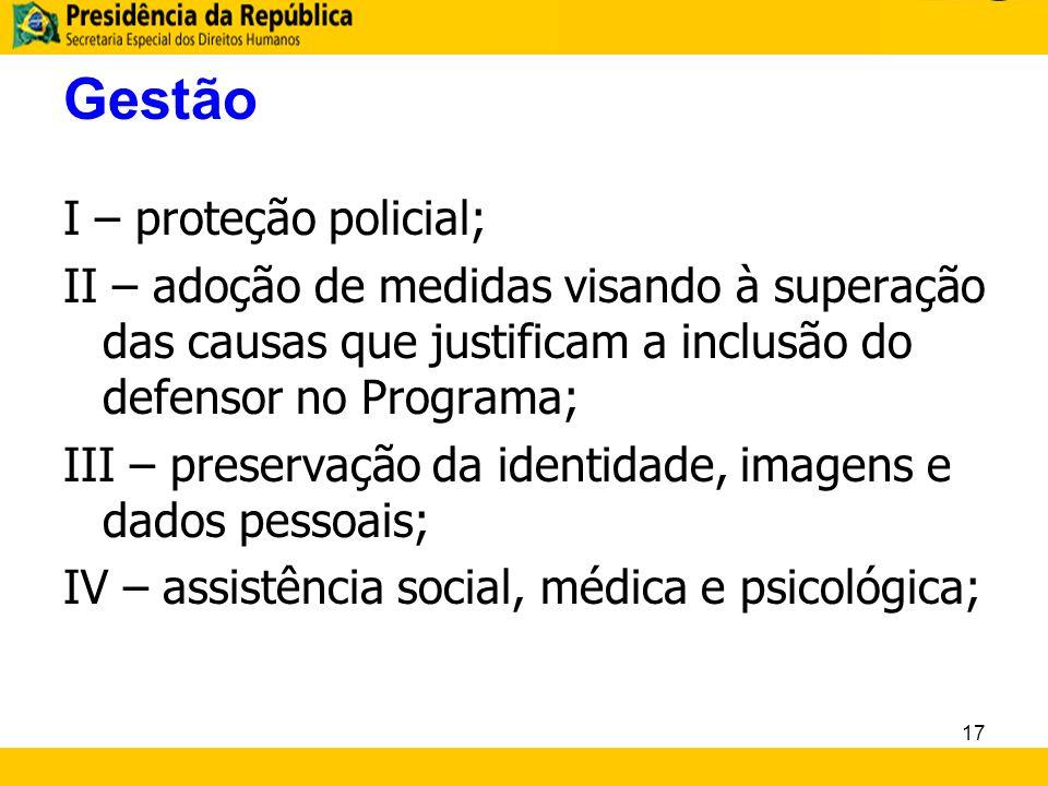 Gestão I – proteção policial;
