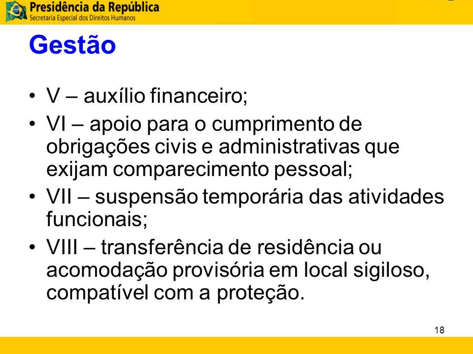 Gestão V – auxílio financeiro;