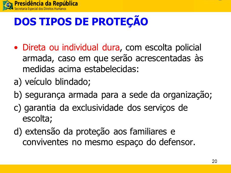 DOS TIPOS DE PROTEÇÃO Direta ou individual dura, com escolta policial armada, caso em que serão acrescentadas às medidas acima estabelecidas: