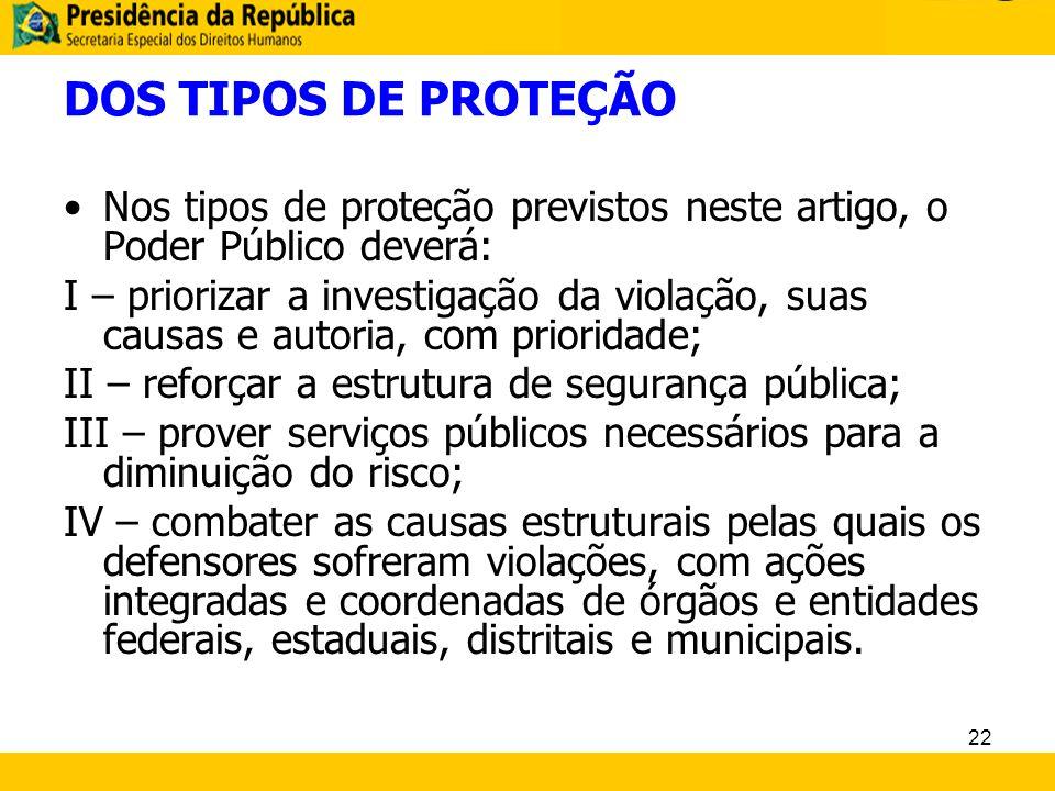 DOS TIPOS DE PROTEÇÃO Nos tipos de proteção previstos neste artigo, o Poder Público deverá:
