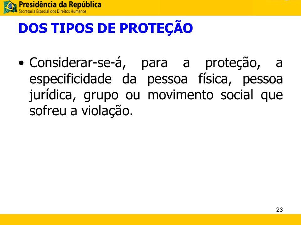 DOS TIPOS DE PROTEÇÃO