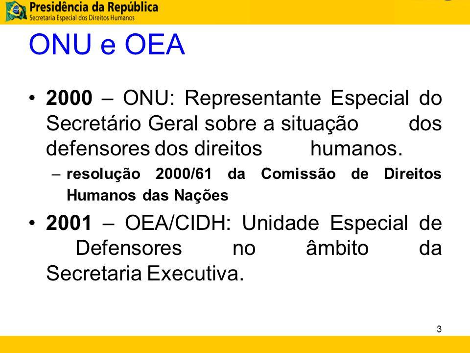 ONU e OEA 2000 – ONU: Representante Especial do Secretário Geral sobre a situação dos defensores dos direitos humanos.