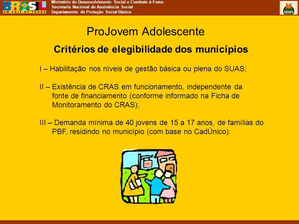 Critérios de elegibilidade dos municípios