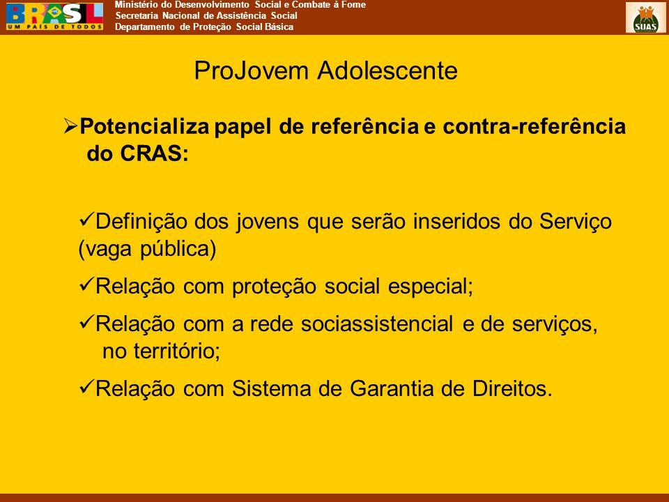 ProJovem Adolescente Potencializa papel de referência e contra-referência do CRAS: