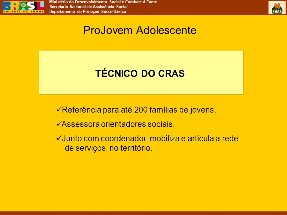 ProJovem Adolescente TÉCNICO DO CRAS