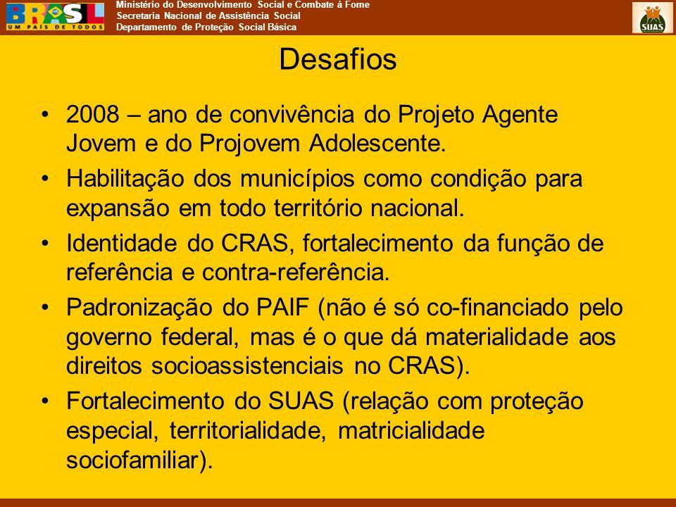 Desafios 2008 – ano de convivência do Projeto Agente Jovem e do Projovem Adolescente.