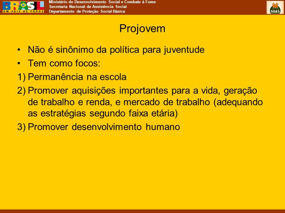 Projovem Não é sinônimo da política para juventude Tem como focos: