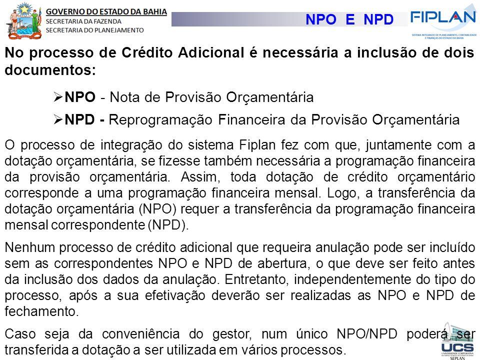 NPO - Nota de Provisão Orçamentária