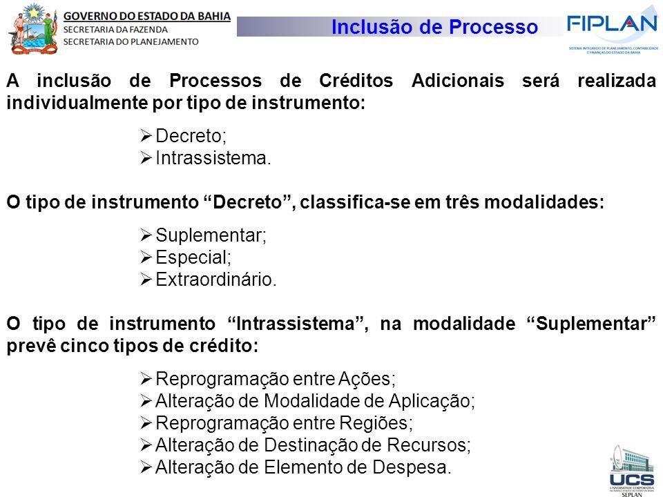 Inclusão de Processo A inclusão de Processos de Créditos Adicionais será realizada individualmente por tipo de instrumento:
