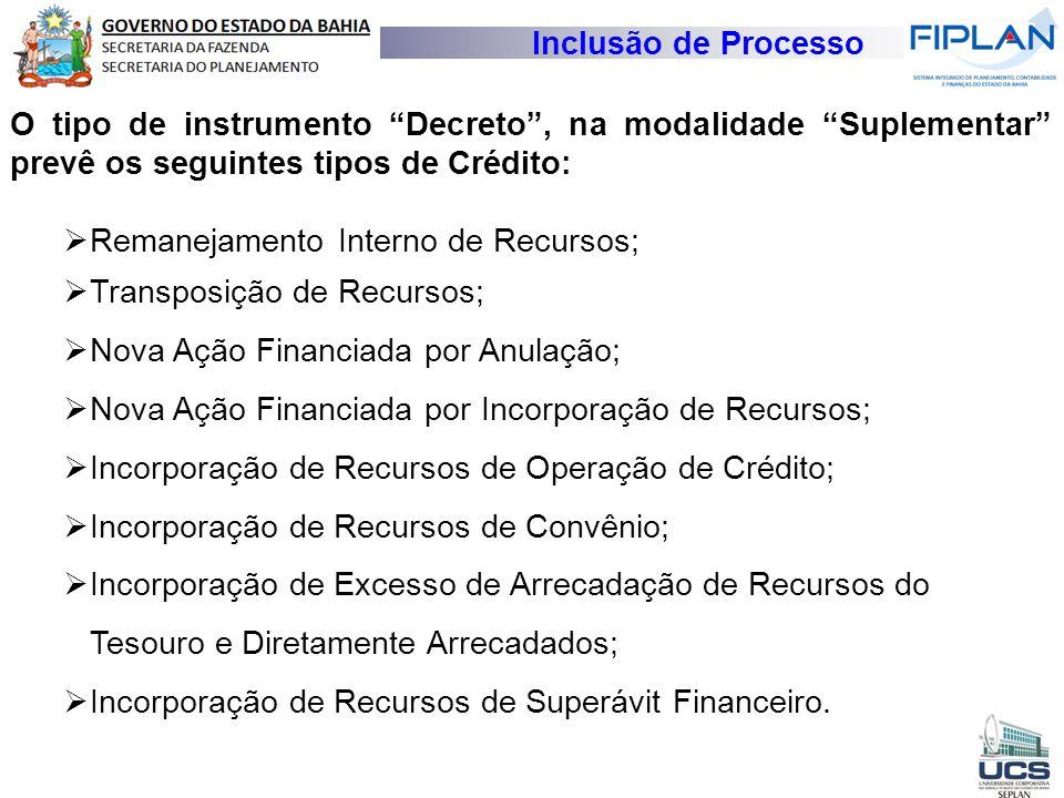 Inclusão de Processo O tipo de instrumento Decreto , na modalidade Suplementar prevê os seguintes tipos de Crédito: