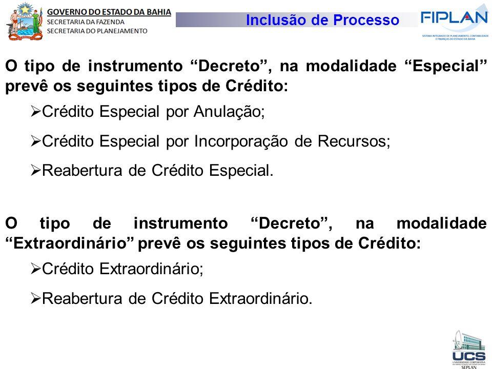 Crédito Especial por Anulação;