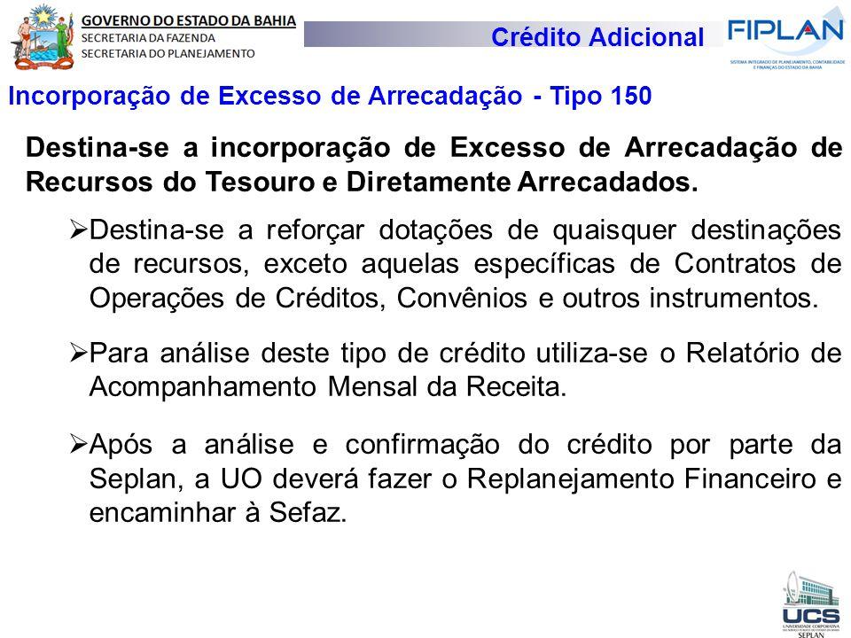 Crédito Adicional Incorporação de Excesso de Arrecadação - Tipo 150.
