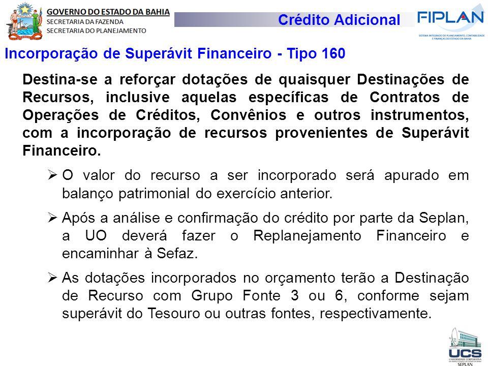 Crédito Adicional Incorporação de Superávit Financeiro - Tipo 160.