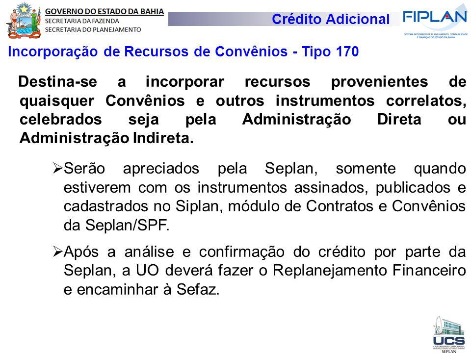Crédito Adicional Incorporação de Recursos de Convênios - Tipo 170.