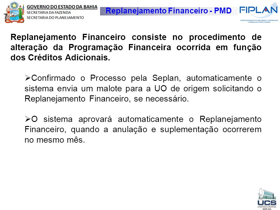 Replanejamento Financeiro - PMD