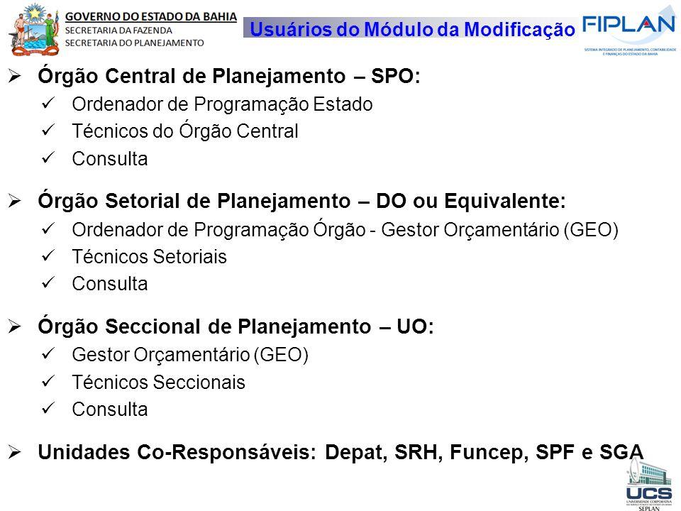 Órgão Central de Planejamento – SPO: