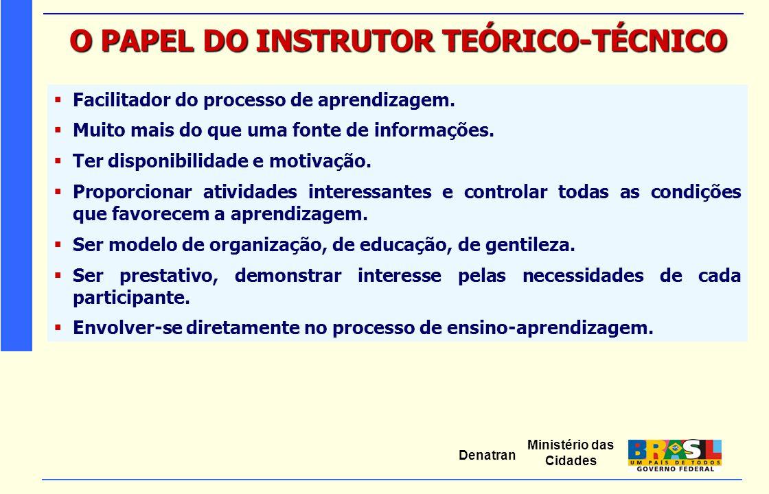 O PAPEL DO INSTRUTOR TEÓRICO-TÉCNICO