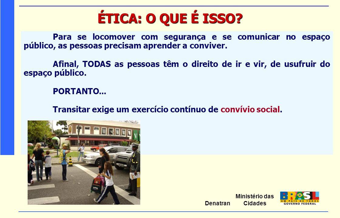 ÉTICA: O QUE É ISSO Para se locomover com segurança e se comunicar no espaço público, as pessoas precisam aprender a conviver.