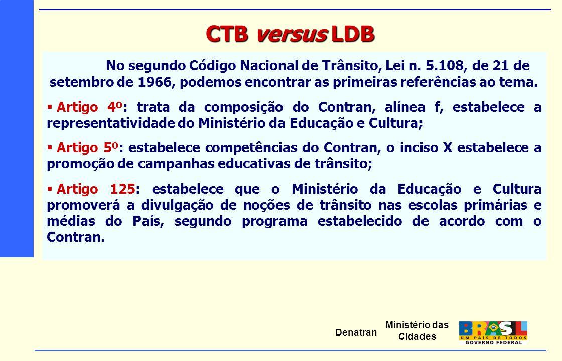 CTB versus LDB No segundo Código Nacional de Trânsito, Lei n. 5.108, de 21 de setembro de 1966, podemos encontrar as primeiras referências ao tema.