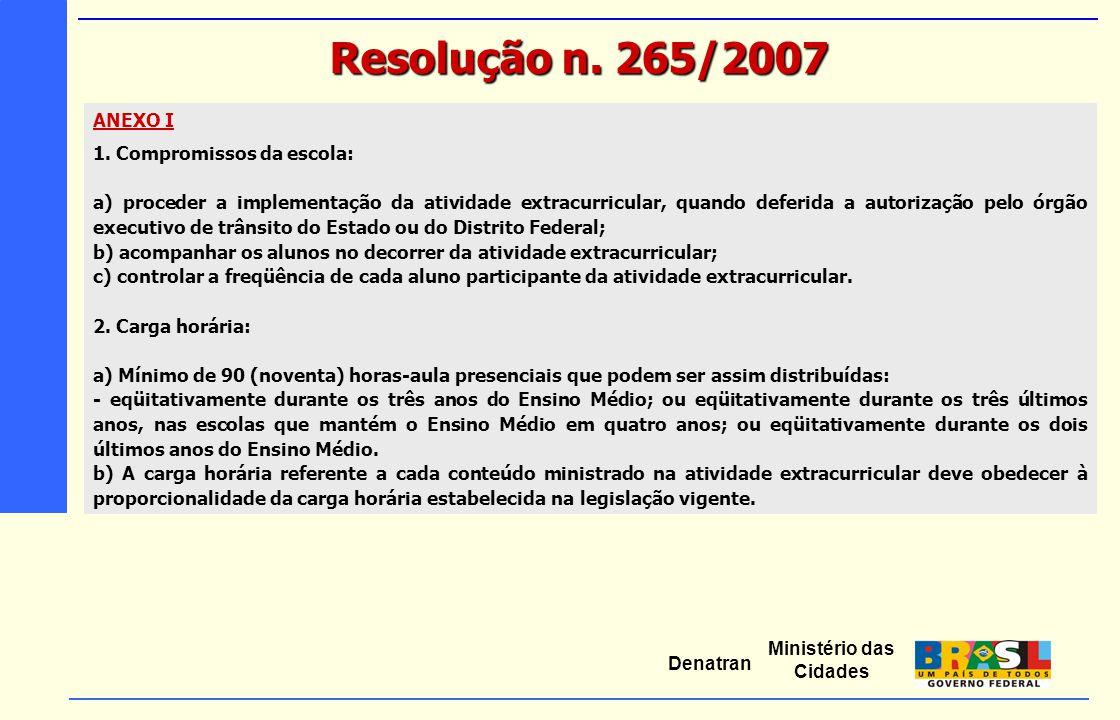 Resolução n. 265/2007 ANEXO I 1. Compromissos da escola:
