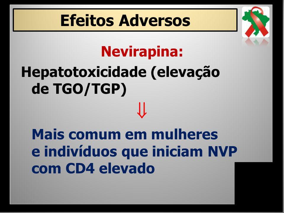  Efeitos Adversos Nevirapina: Hepatotoxicidade (elevação de TGO/TGP)