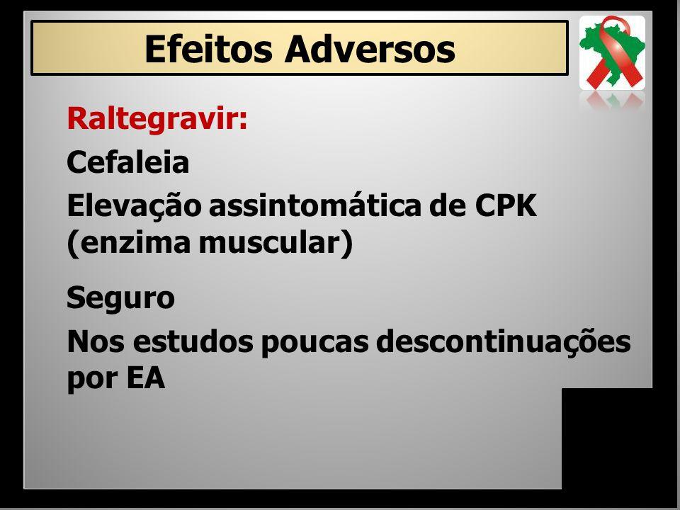 Efeitos Adversos Raltegravir: Cefaleia Elevação assintomática de CPK (enzima muscular) Seguro Nos estudos poucas descontinuações por EA