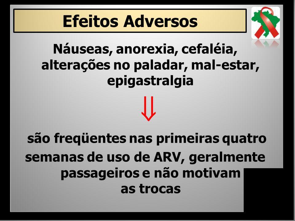 Efeitos Adversos Náuseas, anorexia, cefaléia, alterações no paladar, mal-estar, epigastralgia.  são freqüentes nas primeiras quatro.