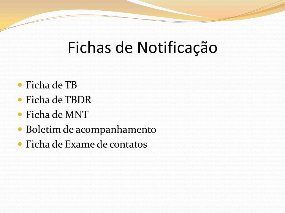 Fichas de Notificação Ficha de TB Ficha de TBDR Ficha de MNT