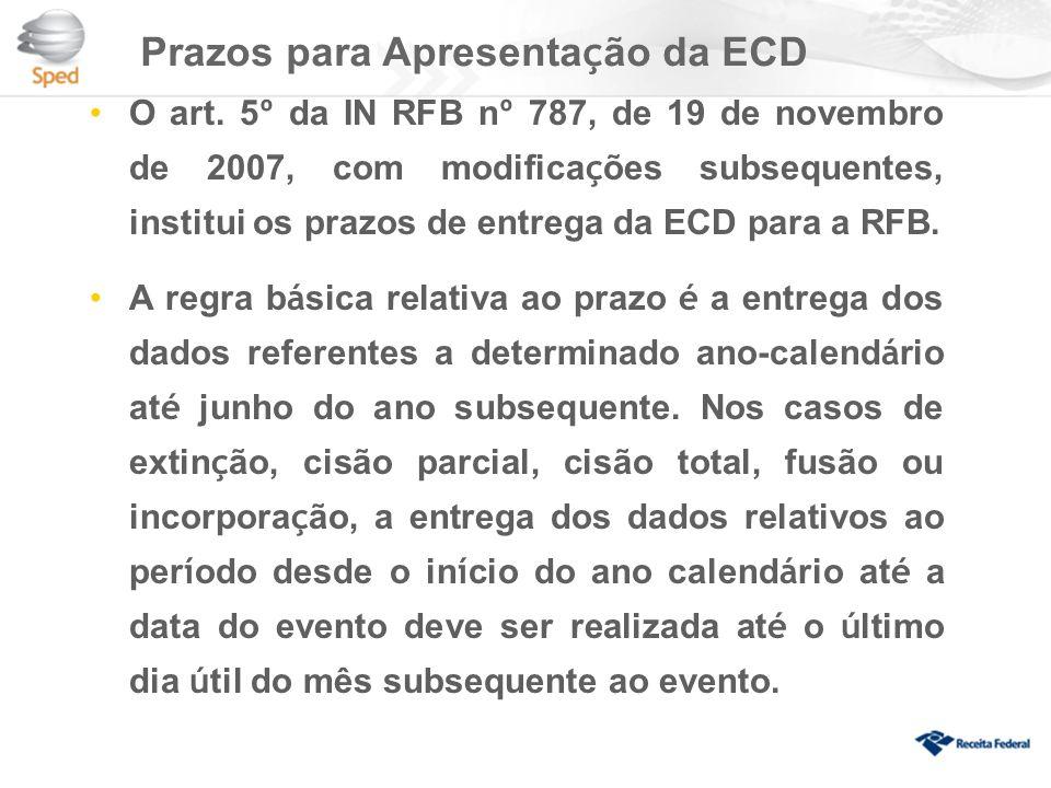 Prazos para Apresentação da ECD