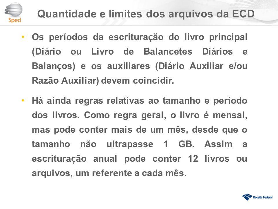 Quantidade e limites dos arquivos da ECD