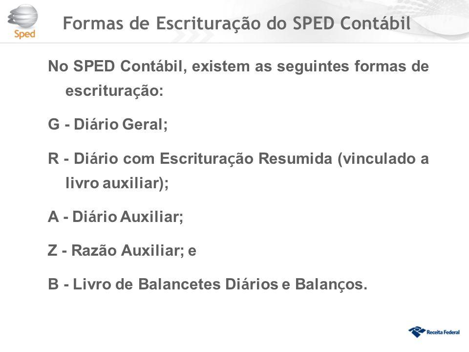 Formas de Escrituração do SPED Contábil