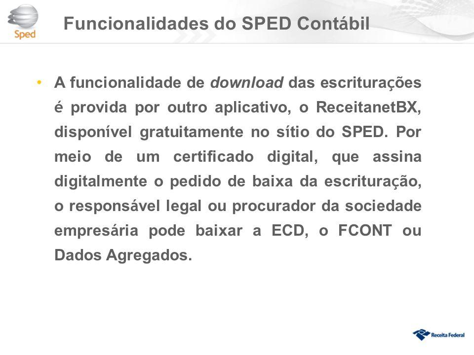 Funcionalidades do SPED Contábil