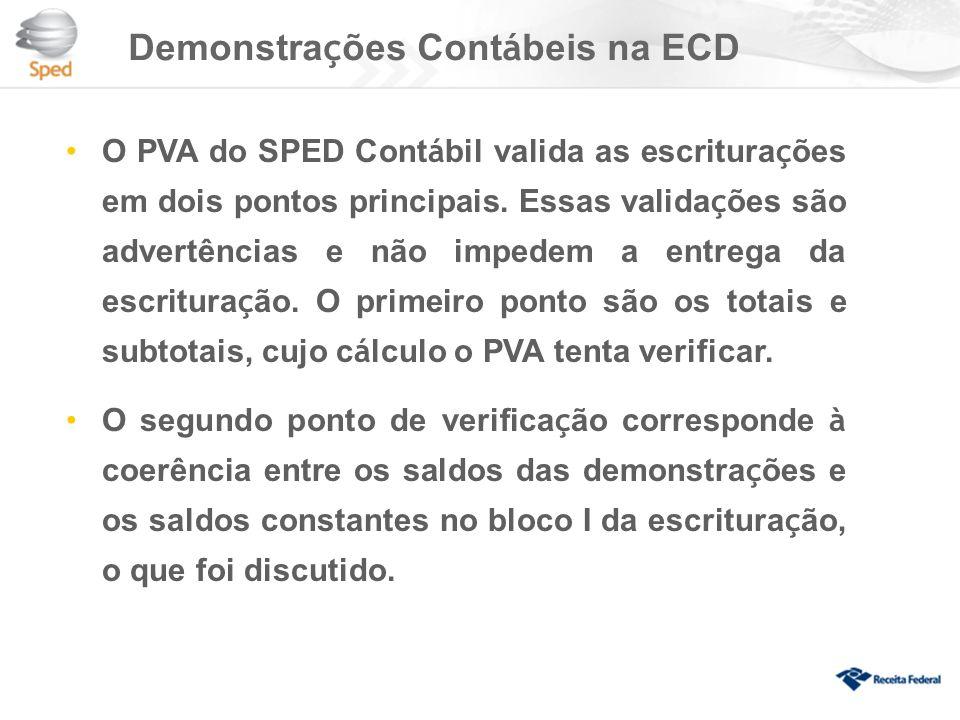 Demonstrações Contábeis na ECD