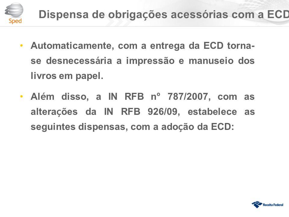 Dispensa de obrigações acessórias com a ECD