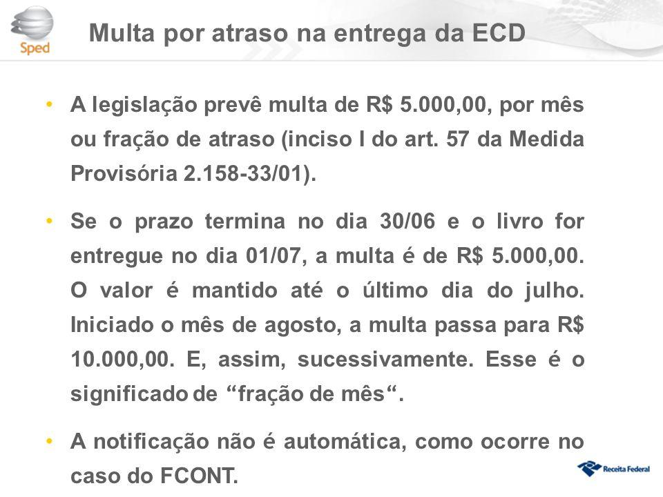 Multa por atraso na entrega da ECD