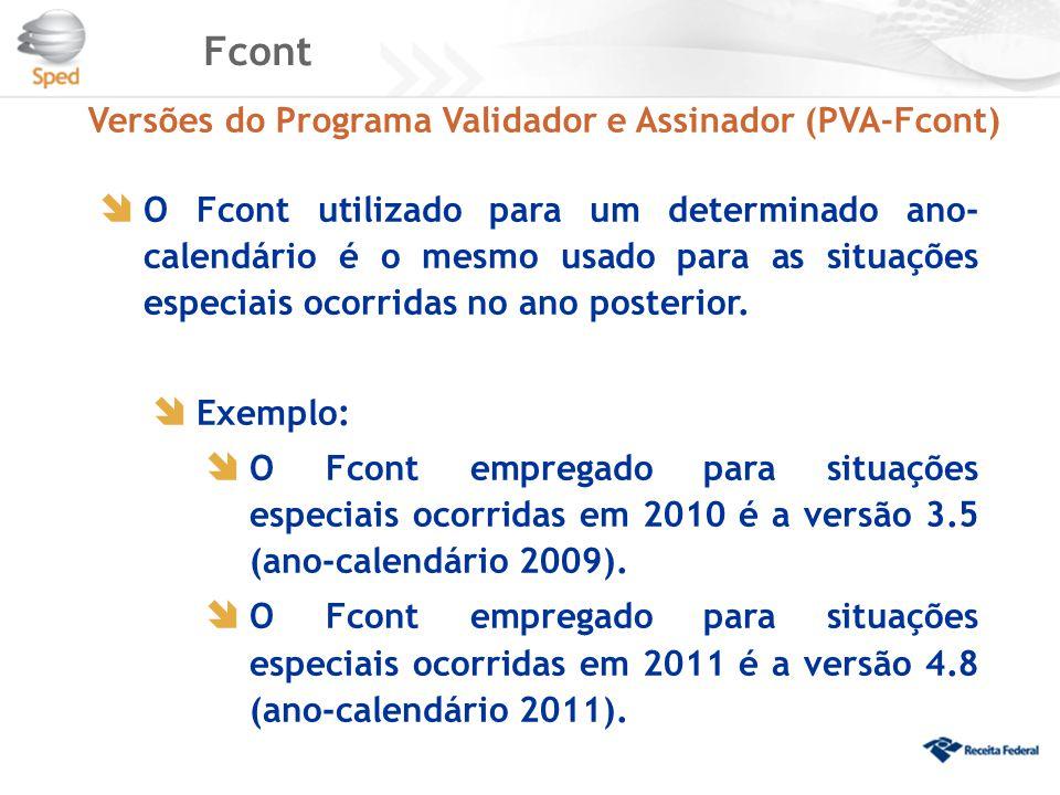 Fcont Versões do Programa Validador e Assinador (PVA-Fcont)