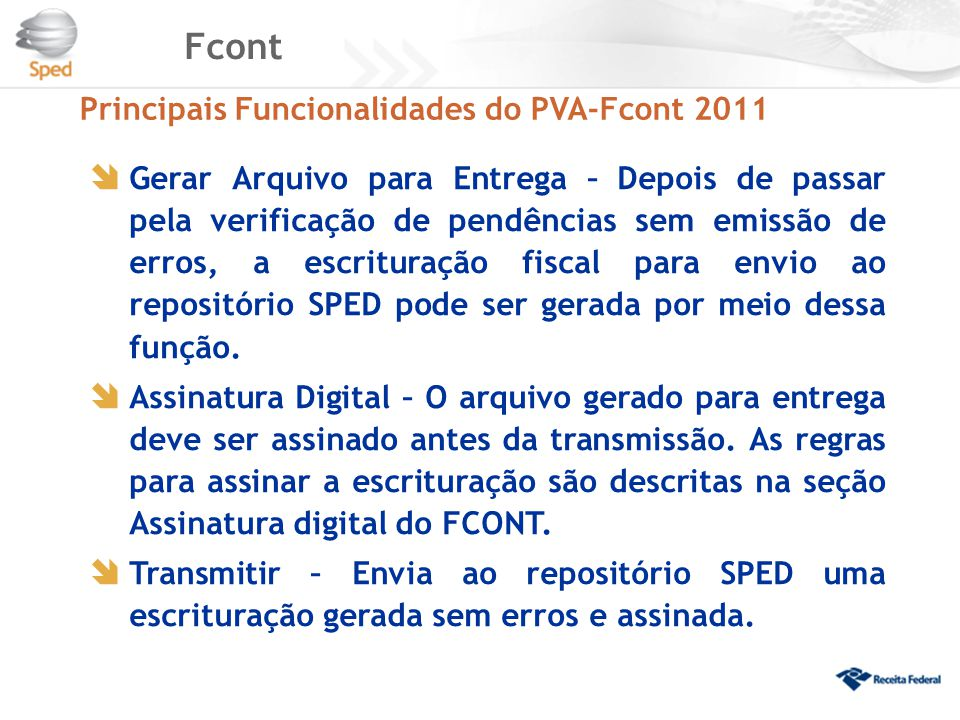 Fcont Principais Funcionalidades do PVA-Fcont 2011