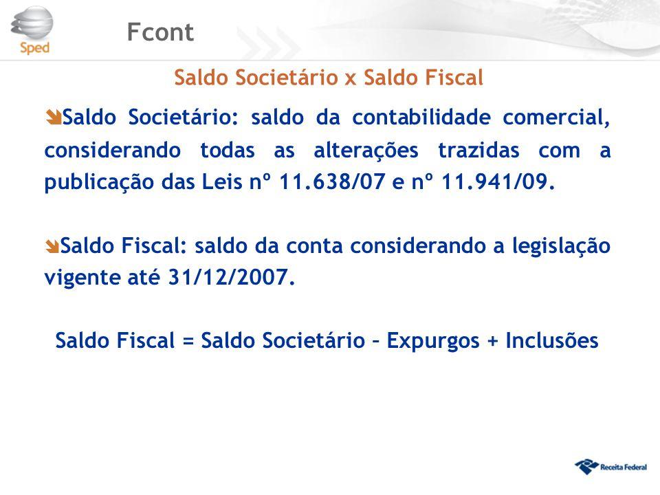 Fcont Saldo Societário x Saldo Fiscal.