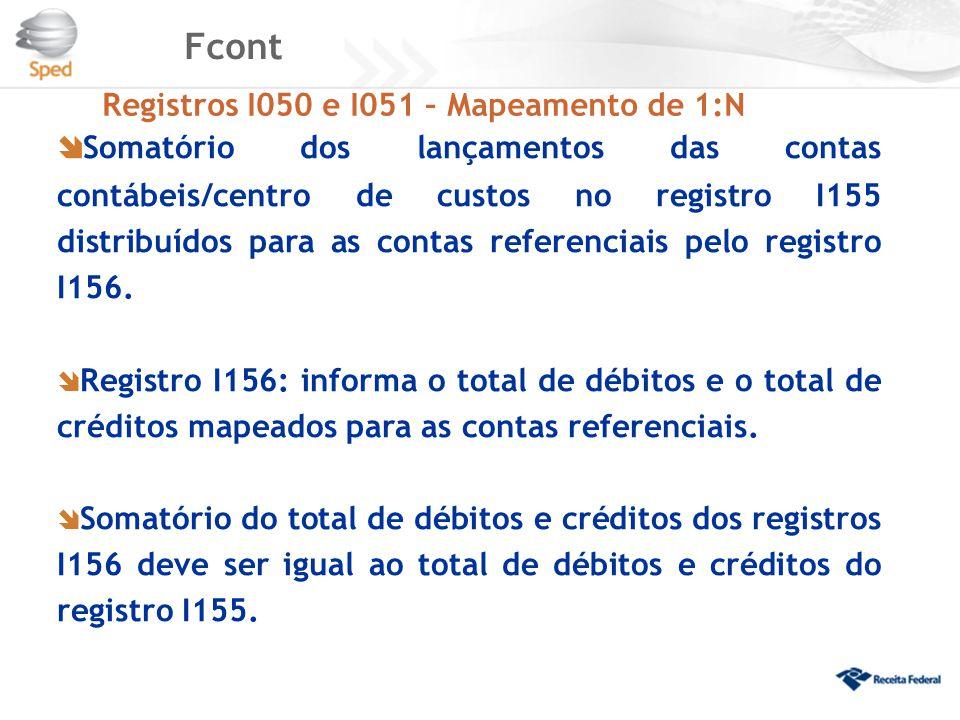 Fcont Registros I050 e I051 – Mapeamento de 1:N.