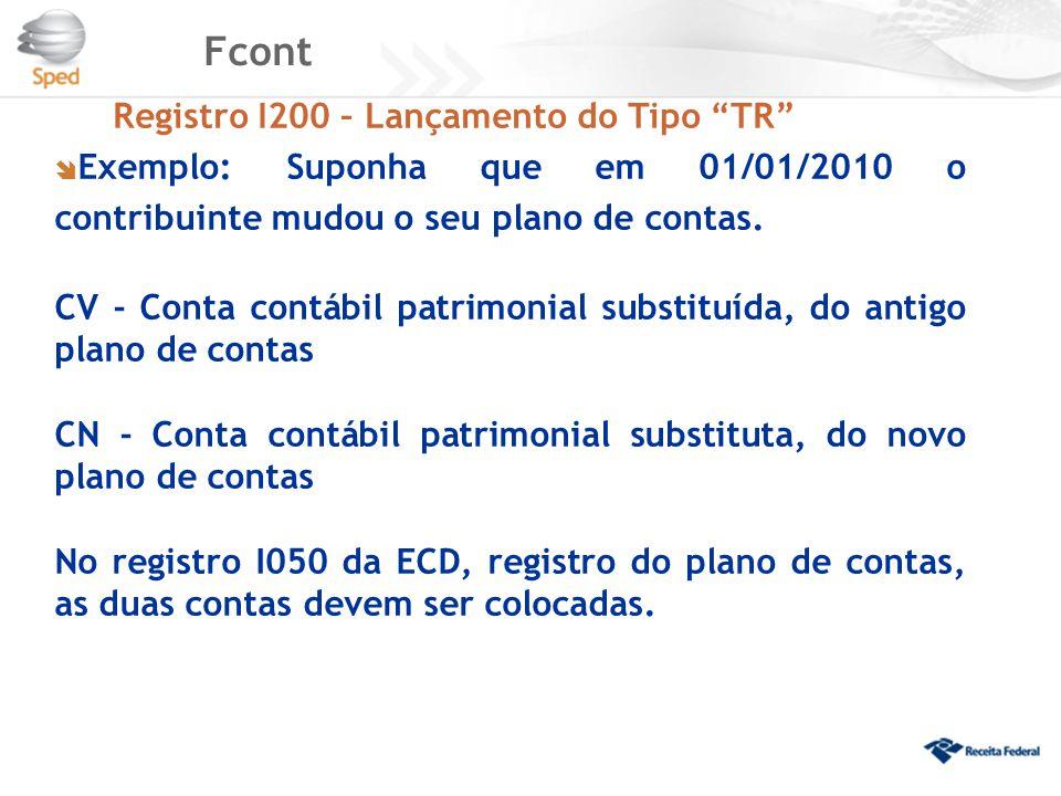 Fcont Registro I200 – Lançamento do Tipo TR