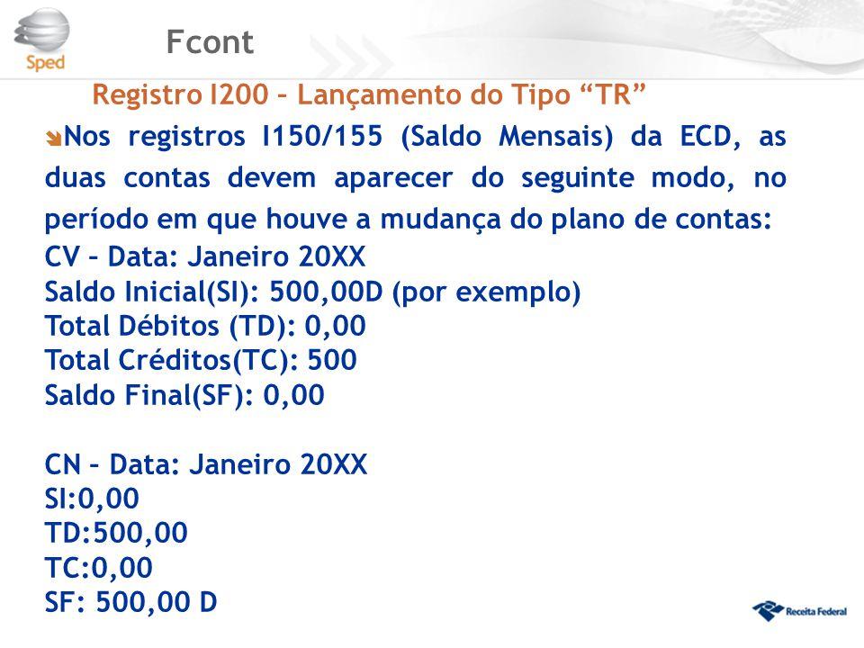 Fcont Registro I200 – Lançamento do Tipo TR CV – Data: Janeiro 20XX