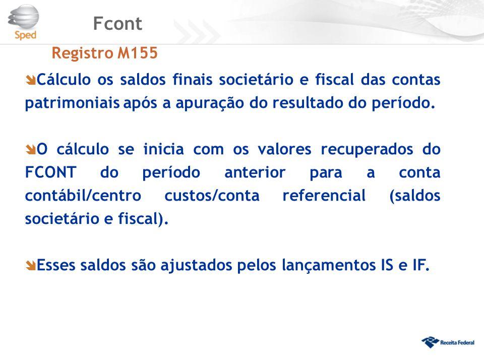 Fcont Registro M155. Cálculo os saldos finais societário e fiscal das contas patrimoniais após a apuração do resultado do período.