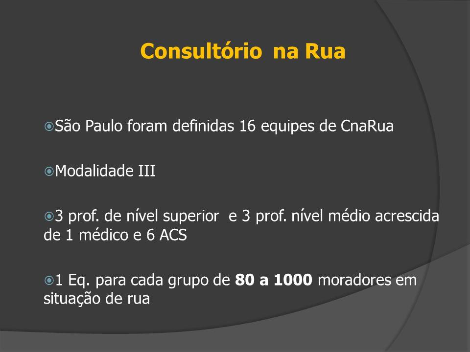 Consultório na Rua São Paulo foram definidas 16 equipes de CnaRua