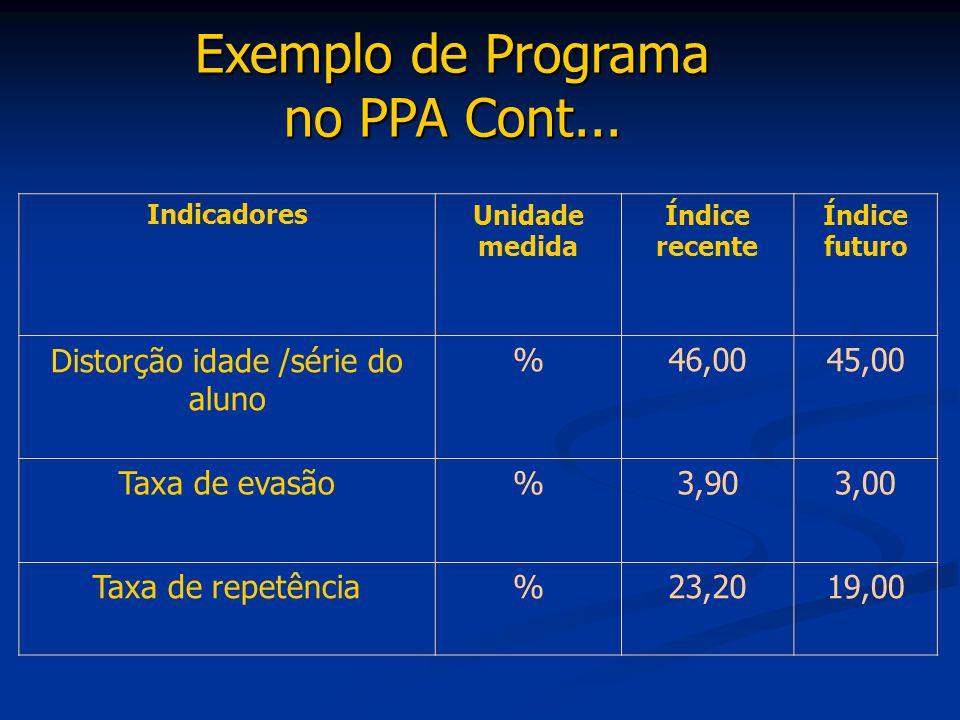 Exemplo de Programa no PPA Cont...