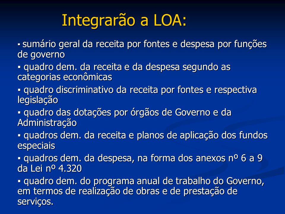 Integrarão a LOA: ▪ sumário geral da receita por fontes e despesa por funções de governo.