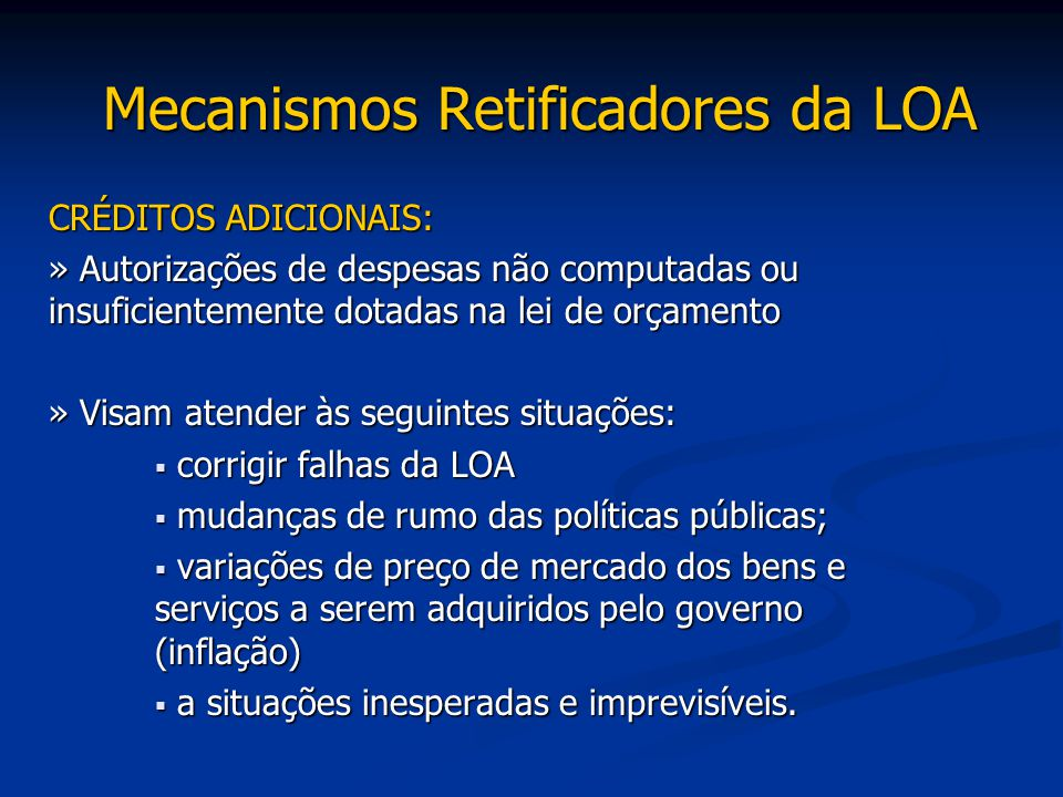 Mecanismos Retificadores da LOA